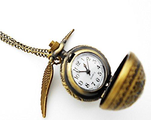 小さなペンダントのオマケ付き懐中時計ハリー・ポッター風スニッチレトロアンティークペンダントチェーンセーターチェーンHarryPotterSnitch時計ウォッチwatch鳥かご(スパイダー)