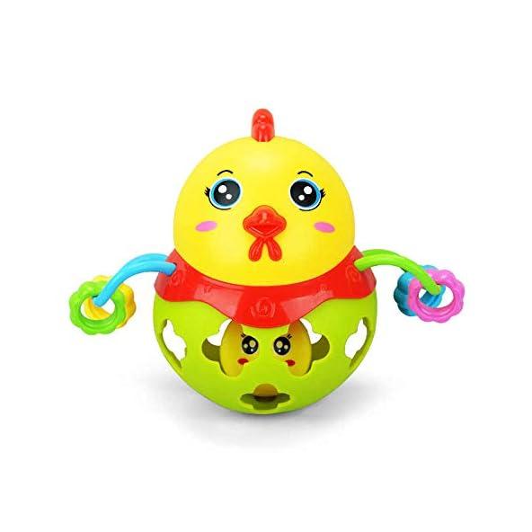 Baby Bucket Stress Relief Toys, Plastic Cartoon Chicken Rattle Handbell Children Chew Teether Educational Toy (Green)