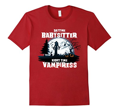 Baby Halloween Costumes Mother Care (Mens Babysitter By Day Vampiress Halloween Costume T-Shirt XL Cranberry)