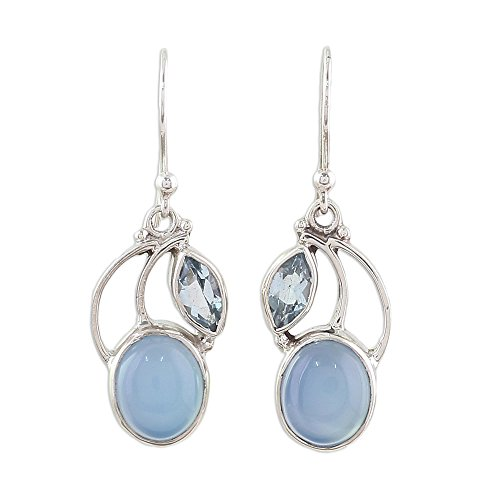 NOVICA Multi-Gem Chalcedony .925 Sterling Silver Dangle Earrings 'Blue Fog' (Topaz Chalcedony Blue Earrings)