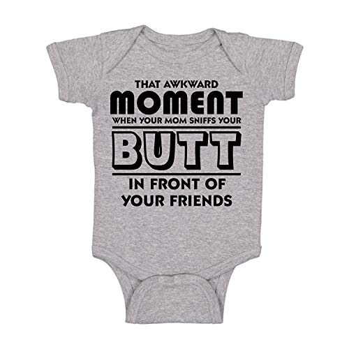 Awkward Moment Your Mom Sniffs Your Butt Funny Cute Infant Creeper, One-Piece Baby Bodysuit (Light Grey, 12 Months)