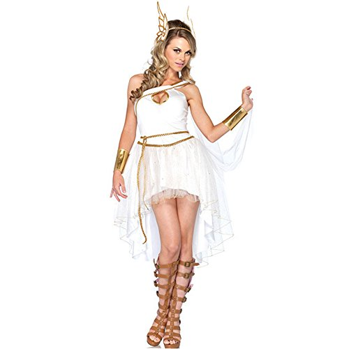 [Fashion Queen White Fairy Greek Goddess Fancy Dress Princess Cosplay Halloween Costume (One Size,] (Athena Adult Costumes)