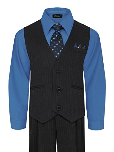 Tie Navy Pinstripe Suit - Boy's Vest and Pant Set, Includes Shirt, Tie and Hanky - Navy/Victoria Blue, 14