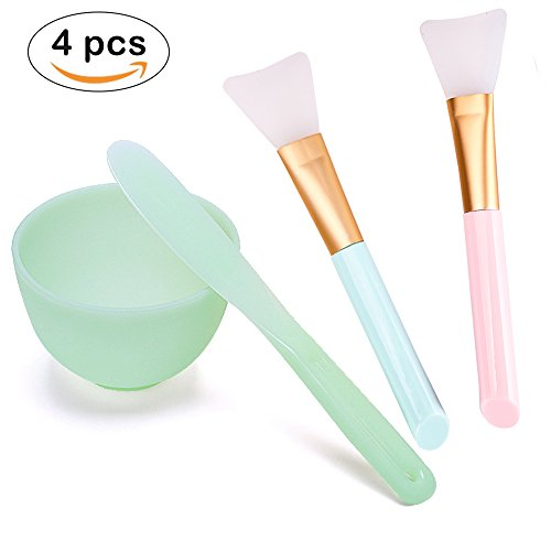 Lemoncy 4 in 1 Face Mask Mixing Bowl Set Silicone Face Mask Brush with Facial Mask Bowl Stick Spatula for mixing Modeling Mask Clay, DIY or Mud mask Facial mask Mixing Tool