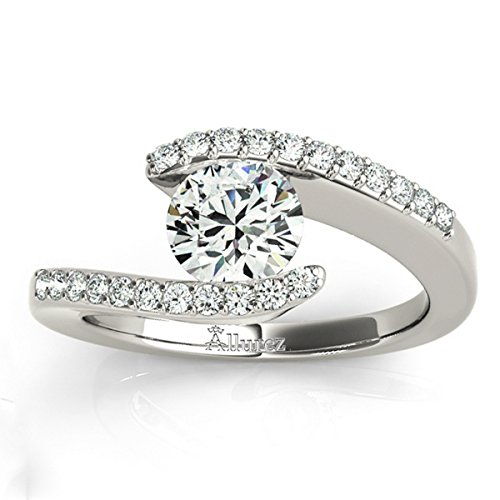 (Women's Diamond Accented Tension Set Engagement Ring Palladium (0.17ct))