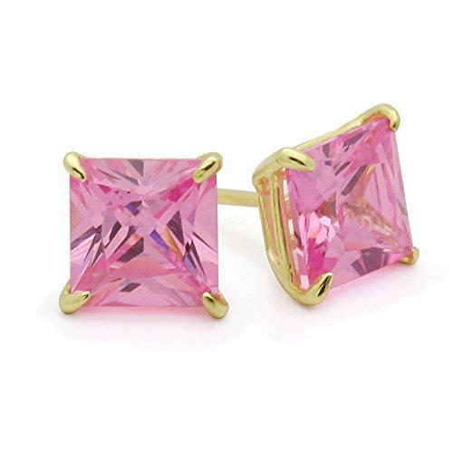 - 14K Yellow Gold 5mm Square Princess Cut Pink Cubic Zirconia Basket Set Solitaire Screwback Stud Earrings