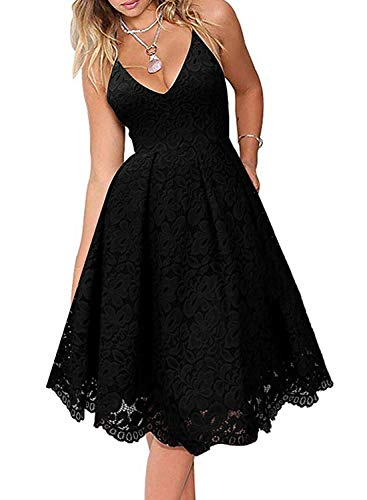 AlvaQ Spaghetti Strap Lace Dress for Women Party Formal Wedding Sexy V Neck Backless Black Dresses X-Large (Cheap Black Wedding Dresses)