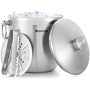 Ice Bucket with Lid and Strainer - Well Made Insulated Stainless Steel Double Wall Keep Ice Frozen Longer - Bonus Ice Tongs - 3 Liter