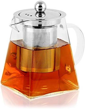 BONNACC Tetera de Vidrio 350ml con Filtro Infusor de Acero Inoxidable Resistente al Calor, Té y Café: Amazon.es: Hogar