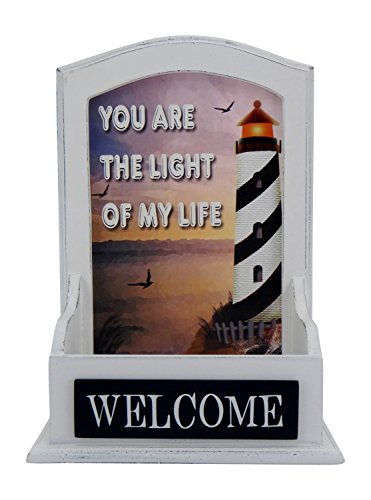 Lighthouse Welcome Wall Plaque with Box Shelf, Whitewashed Wall Decor