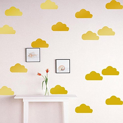 Whitelotous 21pcs Clouds Removable Wall Sticker Decals Kids Room Home Decoration(Gold)