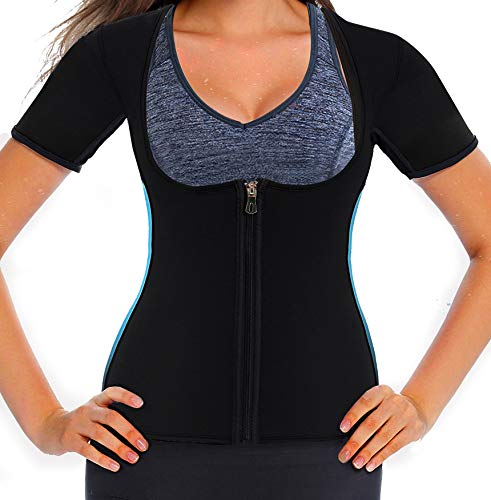 Mlxgoie Women Neoprene Sauna Sweat Waist Trainer Vest for Weight Loss Gym Workout Body Shaper Tank Top Shirt with Zipper (Blue, Large)