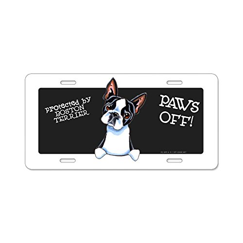 CafePress - Boston Terrier Paws Off - Aluminum License Plate, Front License Plate, Vanity Tag Boston Terrier License Plate