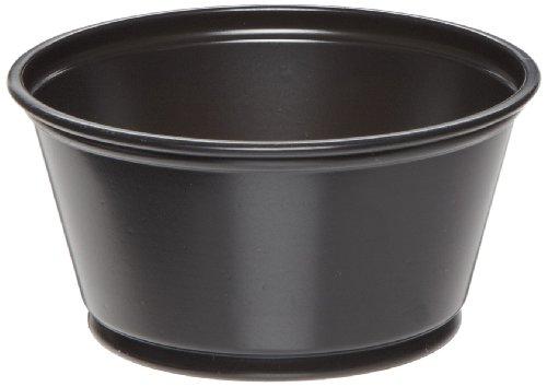 Dixie P020BLK Plastic Souffle Cup, 2 oz Capacity, Matte Black (12 Packs of 200)