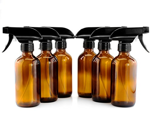 8-Ounce Amber Glass Spray Bottles (6-Pack); w/ Heavy Duty 3-Setting Adjustable Sprayers