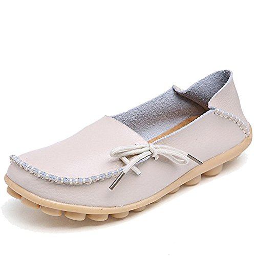 Miuincy Chaussures Femmes En Cuir Casual Mocassins Chaussures Lacets Up Slip-on Pantoufles Chaussures Casual Beige