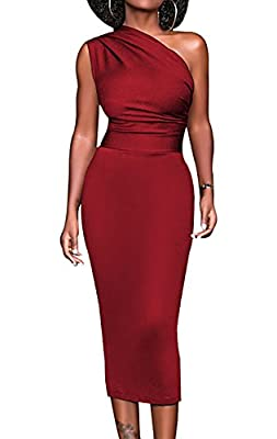 Meannic Women One Shoulder Bodycon Midi Party Dress
