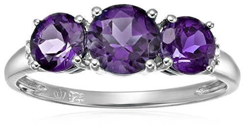 Sterling Silver African Amethyst and Diamond Accented 3-stone Engagement Ring, Size 7 - Accented Sterling Silver Ring