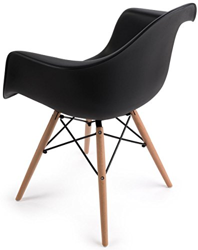 Displays2go, Plastic Molded Chair with Wood Base, Metal – Black Finish, Natural Base (FDC32WDABK) by Displays2go (Image #1)