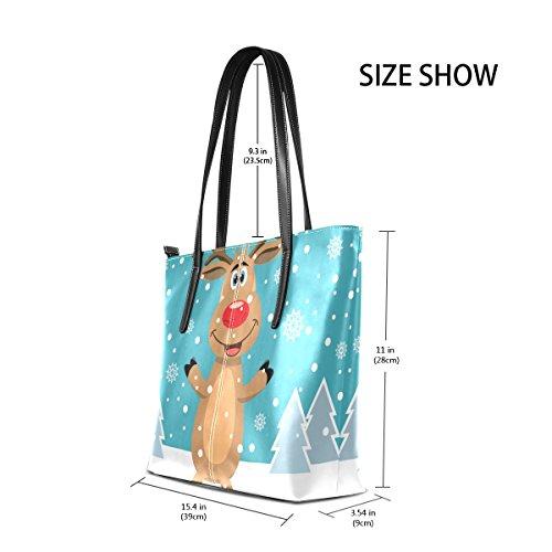 COOSUN Rudolph Schnee Bäume PU Leder Schultertasche Handtasche und Handtaschen Tasche für Frauen ddlj3vfUm