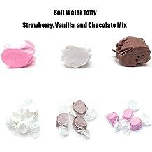 Sweets Salt Water Taffy Assorted Vanilla Chocolate Strawberry Neapolitan Mix, 144 Pieces