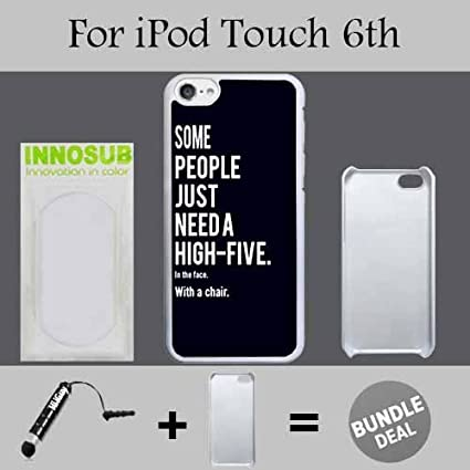 Funny Some People Just Need a High Five Custom iPod 6/6th Generation Cases-Black-Plastic, Bundle 2in1 Comes with Custom Case/Universal Stylus Pen by innosub