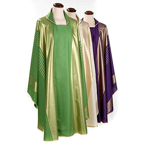 Holyart Liturgical Vestment in Wool with Gold Stripes, White