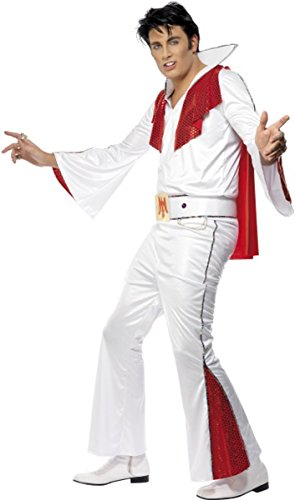 Mens Fancy Party Dress Rock N Roll 1950s Rock Star Elvis Costume Outfit White