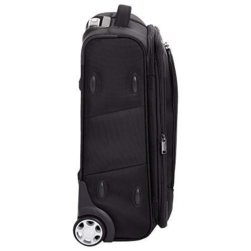 AmazonBasics Expandable Softside Carry-On Luggage Suitcase With TSA Lock And Wheels - 22 Inch, Black