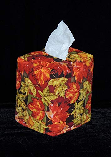 """FREE SHIPPING! 5"""" x 5"""" x 6"""" Tissue Box Cover. Falling Leaves! Fabric is Fully Lined, and Hand ()"""