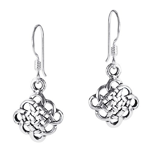 Shiny Earrings Celtic - .925 Sterling Silver Alluring Celtic Knot Fish Hook Dangle Earrings
