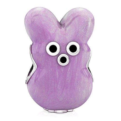 Marshmallow Peep Costumes (BELLA FASCINI Bunny Marshmallow Style Easter Bead Charm - 925 Silver - Fits European Bracelets - Purple)
