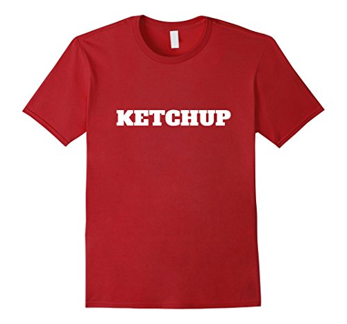 Mens Lazy Halloween Ketchup Costume Funny T-Shirt XL Cranberry (Simple But Funny Halloween Costumes)