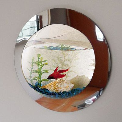 (1 Gallon Reflection Fish Bubble Deluxe Mirrored Wall Mounted Aquarium Tank)