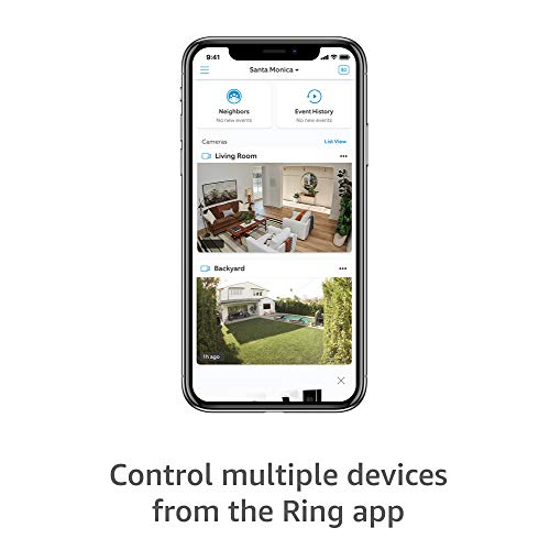 Ring Stick Up Cam Plug-In HD security camera with two-way talk, Works with Alexa - Black