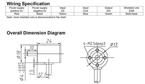 CALT 12 Bit Mini Size Hall Effect Sensor SSI Encoder 5Vdc Angle 360 Degree Measure Sensor IP67 0.5m Cable by Calt (Image #3)