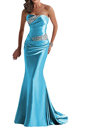 Yougao Women's Floor Length Strapless Evening Party Bridesmaid Dresses Blue US 24W