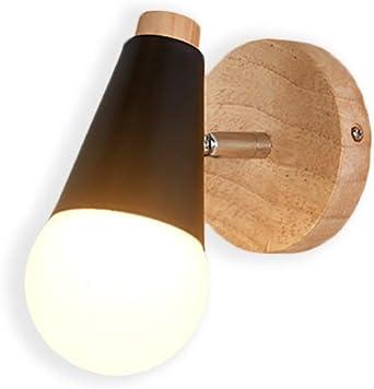 Lampara Moderno del Pared Luz E27 Focos Iluminacion del LED Aplique Metal para Cafeteria Bar Casa Dormitorio Escalera Pasillo Restaurante Cocina (Negeo + Madera): Amazon.es: Iluminación