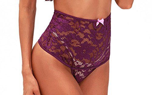 Rookay Lace Chemise Lingerie for Women Plus Size Sexy Sleepwear Sheer Mesh Floral 2 Piece Pajamas with High Waisted Bottom (Purple, XXXL) by Rookay (Image #2)