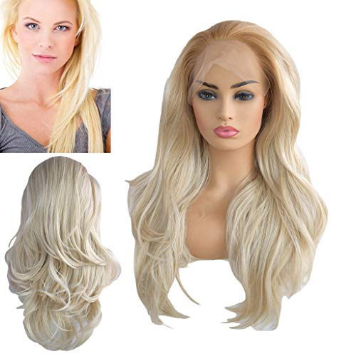 (Gold Long Wavy Platinum Blonde Glueless Lace Wig Part Natural Heat Resistant Synthetic Hair Wigs)