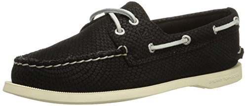 Sperry Top-sider Mujeres A / O 2-eye Python Boat Shoe Black