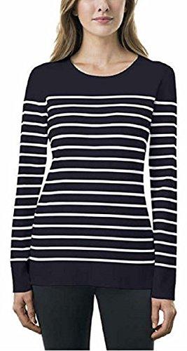 Kirkland Signature Ladies Crewneck Sweater (Small, Navy/White Stripe)