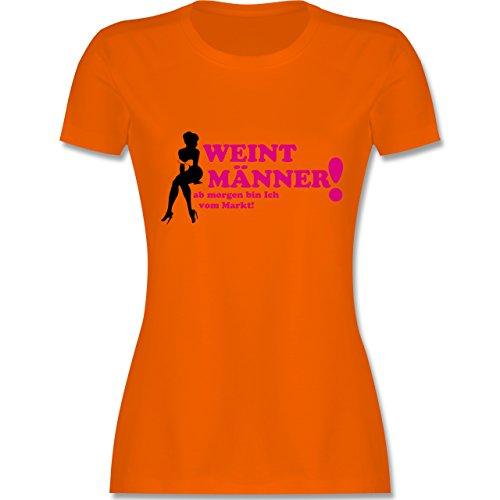 JGA Junggesellinnenabschied - Weint Männer - L - Orange - L191 - tailliertes Premium T-Shirt mit Rundhalsausschnitt für Damen
