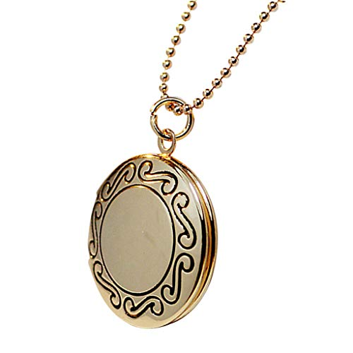(Friend Jewelry Gift Round Shaped Photo Picture Locket Pendant Necklace Chain Necklace Jewelry Crafting Key Chain Bracelet Pendants Accessories Best| Color - Gold)