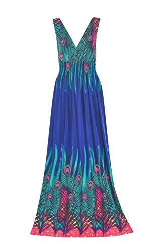 Howriis Womens Peacock V neck Dresses