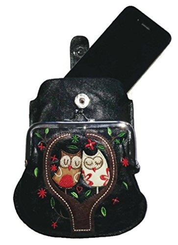 OWL BLACK Leather Bag Cross Messenger Little Faux Body 003 LeahWard® Handbag Party Bag Women's xqYAw7OUf