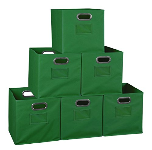 Niche Set of 6 Cubo Foldable Fabric Bins- Green]()
