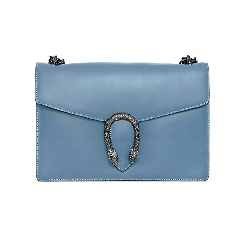 RONDA Baugette clutch mini bag with chain and metal accessory smooth leather and suede Made in Italy Light Blue Plain Leather