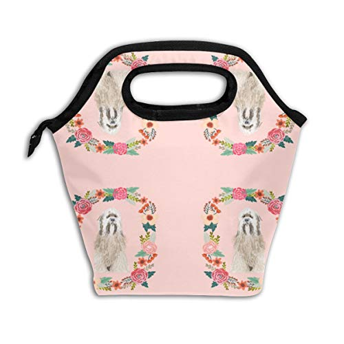 8 Inch Tibetan Terrier Floral Wreath Flowers Dog B Reusable Insulated Lunch Bag Cooler Tote Box with Zipper Closure for Woman Man Work Pinic Or Travel