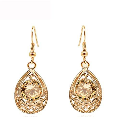 Luxury Yellow Crystal Teardrop Dangle Earring Wedding Set Birthday Christmas Gift For Women Girl Wife